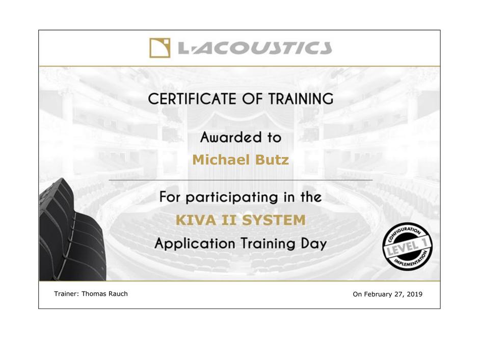 Michael Butz KIVA II Training Certificate