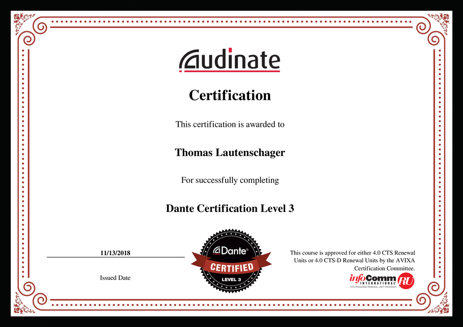 Thomas Lautenschlager Dante Certification Level 3
