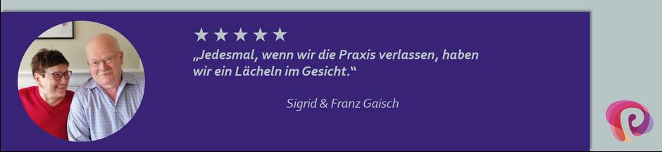 Sigrid und Franz Gaisch lächeln nach einem Besuch in der Physiotherapie-Praxis von Petra Punz