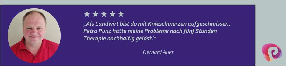 Die Knieprobleme von Gerhard Auer wurden von Petra Punz in ihrer Praxis in Weiz durch Physiotherapie effektiv behandelt.