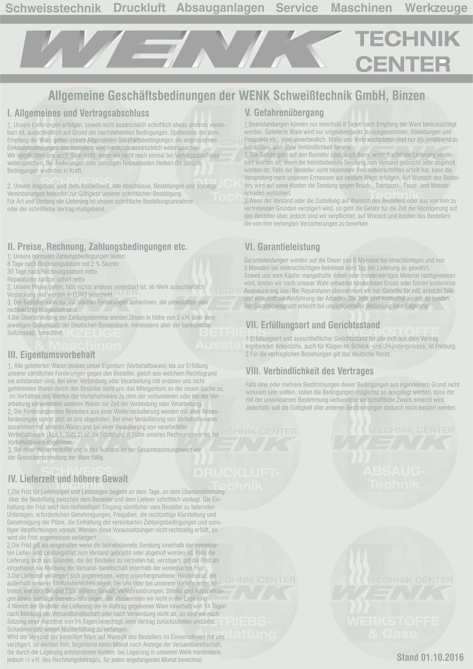 Allgemeine Geschäftsbedingungen, WENK Schweisstechnik GmbH