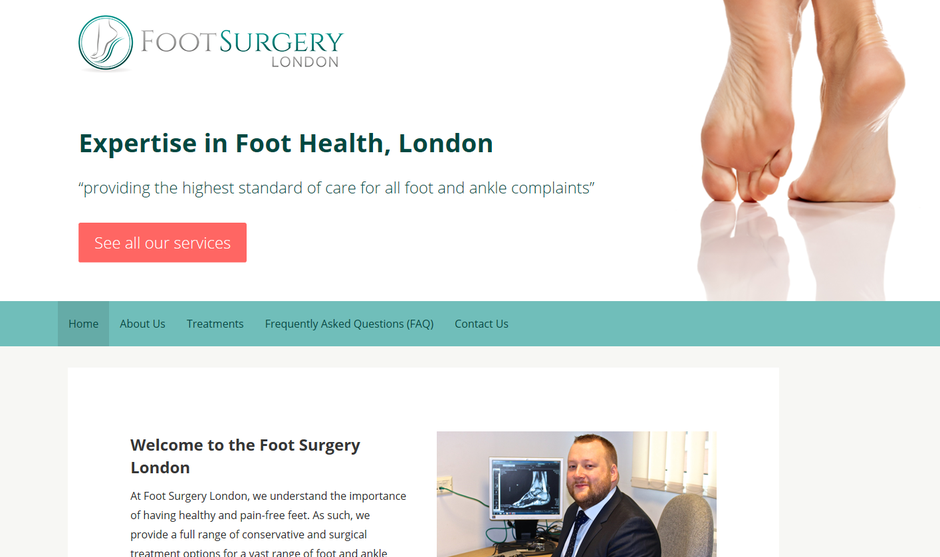 foot surgery london, web design by IMC Technologies