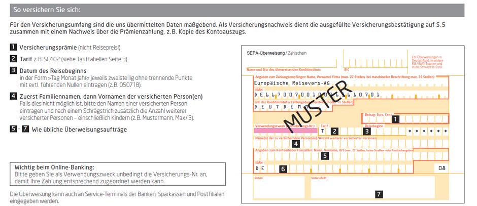 Anleitung: Wie versichert sich ein Urlauber in Deutschland mit einem Versicherungs-Zahlschein richtig?