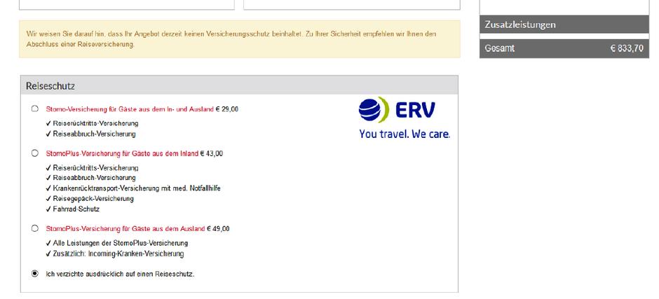 Einbindung der ERGO Reiseversicherung (ERV) bei easybooking