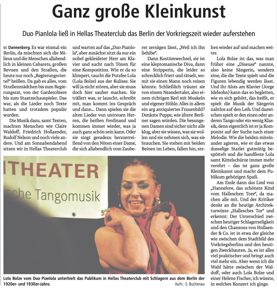 Duo Pianlola in der Elbe-Jeetzel-Zeitung vom 6. Februa 2017