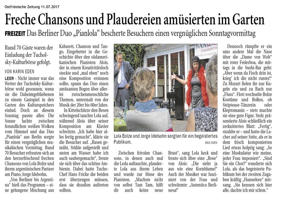 Duo Pianlola in der Friesen-Zeitung vom 11. Juli 2017