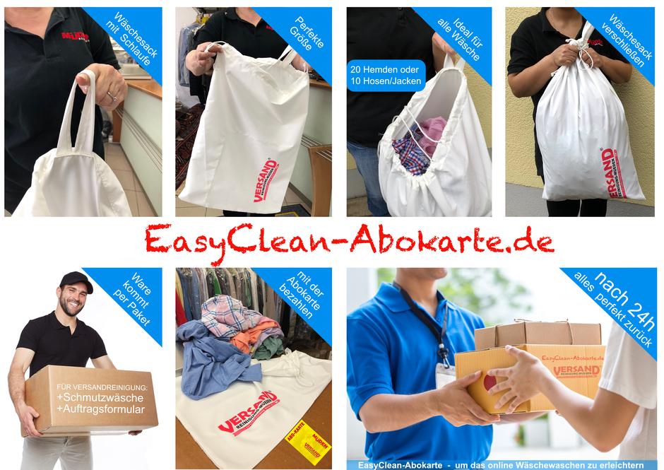 versandreinigung-mueden.de, ABO, Easyclean-Abokarte, Flyer und Erklärung mit Wäschesack und 7 Bildern