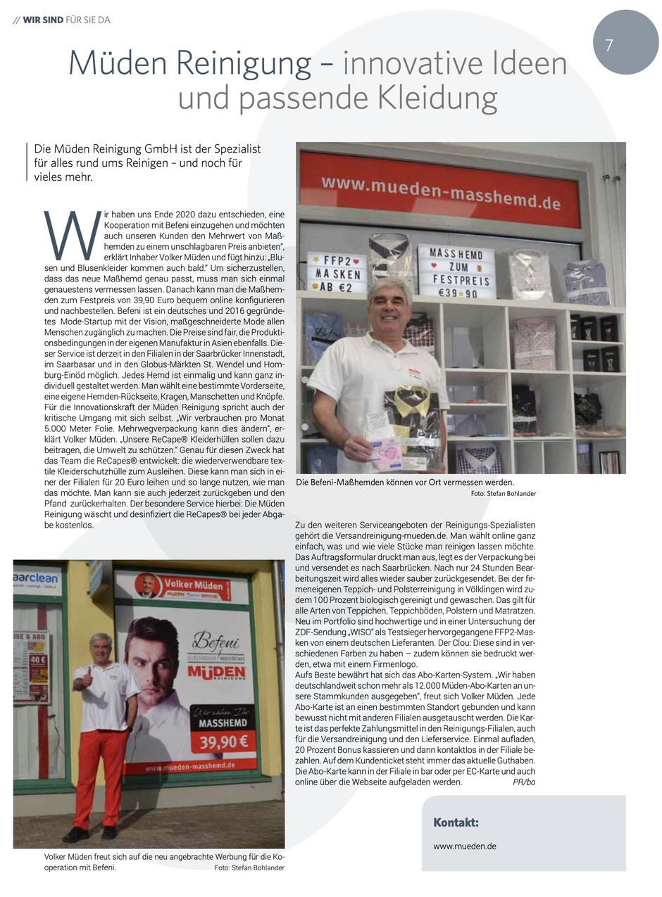 Versandreinigung-mueden.de, Pressebericht, Saarbrücker Zeitung Befeni Masshemd
