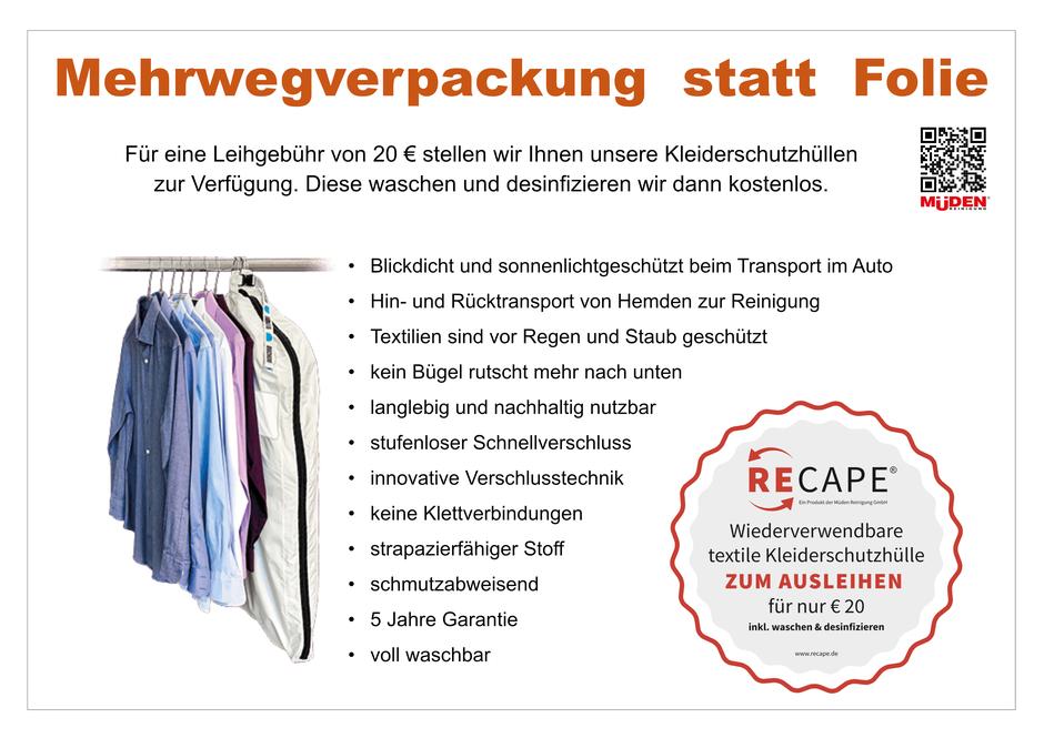 Versandreinigung-mueden.de, Kleiderhülle, Beschreibung der recape Kleiderschutzhülle