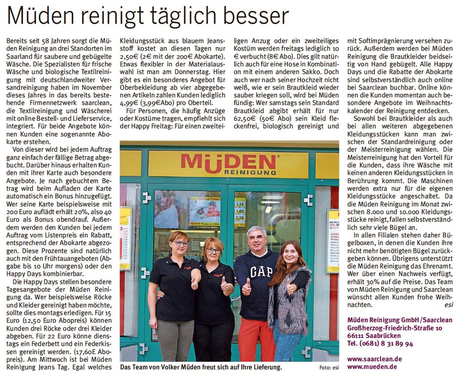Versandreinigungmueden.de Pressebericht, Bild und Text City Journal vor Saarbasar mit Sarah