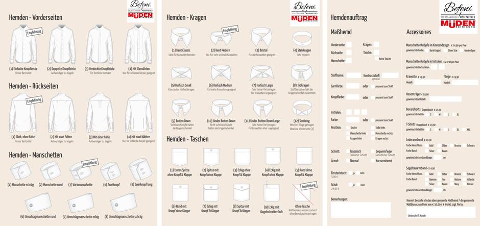 Versandreinigung-mueden, Masshemd, Hemdenauftrag zum Ausfüllen
