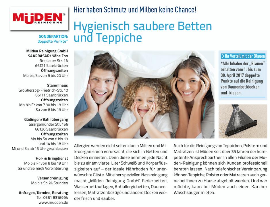Versandreinigung-mueden.de, Leistungen, Presseberichte, Blaues Blatt, Hygienisch saubere Betten und Teppiche
