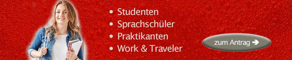 Krankenversicherung für Sprachschueler, Praktikanten, Work Travel,Studenten