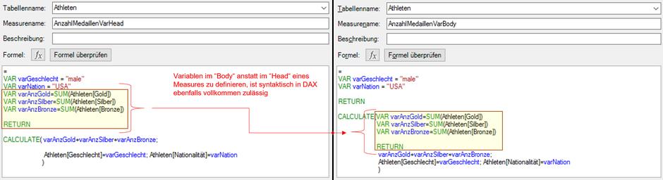 Power BI Desktop, SSAS Tabular, Power Pivot, DAX, Variablen, Variables
