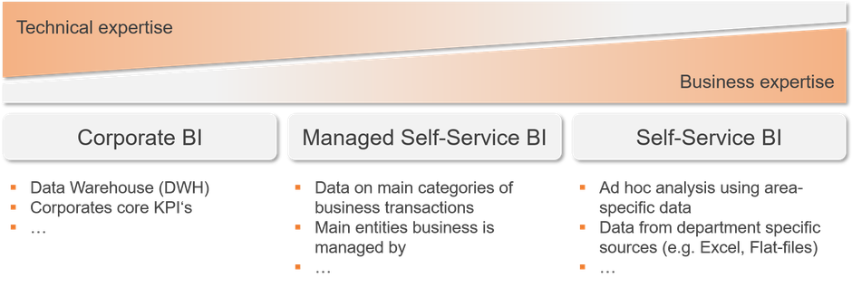 Full Business Intelligence bandwith including Corporate BI, Managed Self-Service BI and Self-Service BI