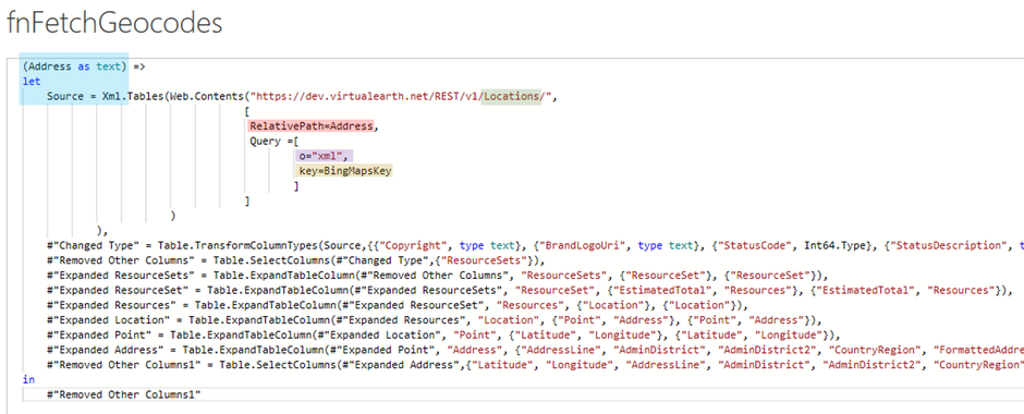 Fetching geocodes from Bing Maps API using Power BI, Power Query and M-Code
