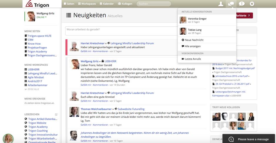 Social Collaboration Tool zum Wissensmanagement bei Trigon. Wolfgang Grilz initiierte dieses Projekt zum Knowledge Management 2.0.