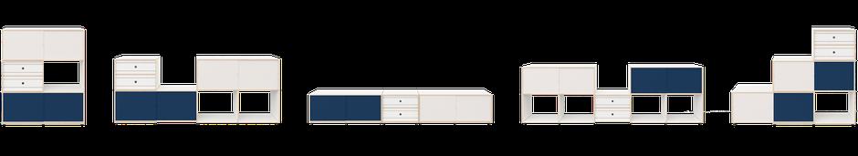 Eine Vielfalt von möglichen Konfigurationen mit dem modularen Xilobis-Möbelsystem