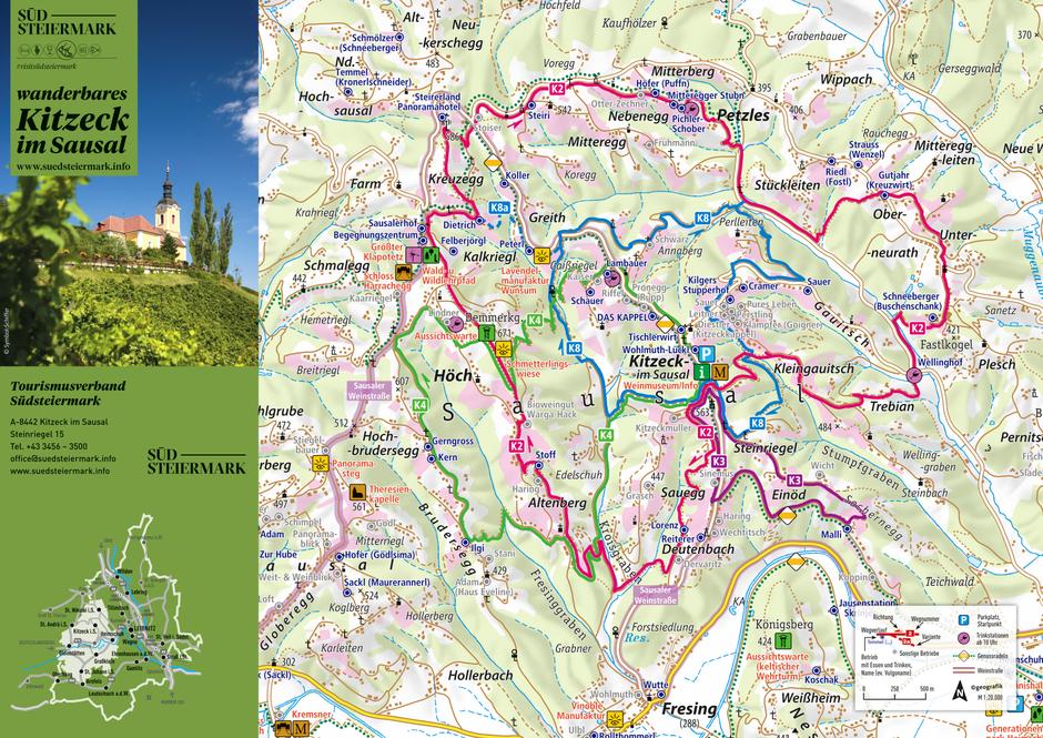 Auf der Wanderkarte für Kitzeck und Umgebung sind alle Wanderwege mit den entsprechenden Einkehrmöglichkeiten abgedruckt.