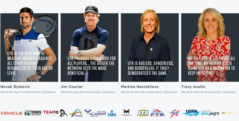 recommendations by Novak Djokovic, Jim Courier, Martina Navratilova and Tracy Austin