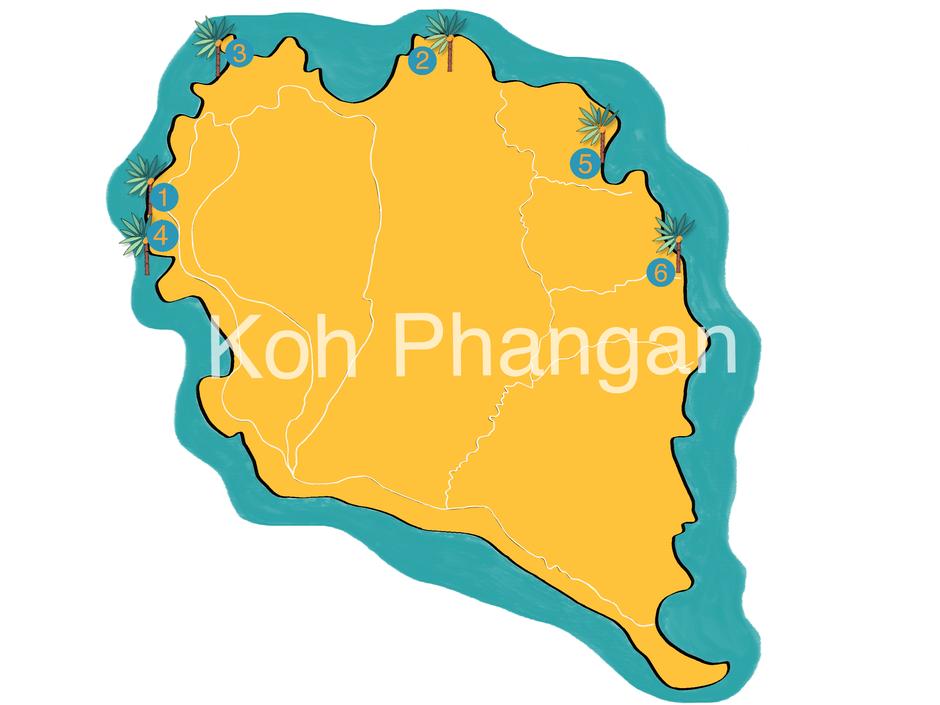 Meine Lieblingsstrände auf Koh Phangan, Grafik: Christin Wahl