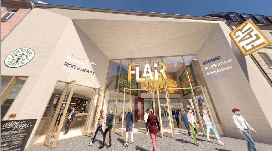 Flair Fürth neuer Eingang mit Werbung der Marken an der Seite