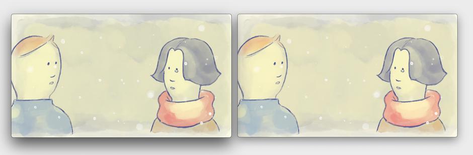 色調整前(左)と色調整後(右)。マフラーの赤みは鮮やかになった一方、女の子の髪の重量感が少し和らいでいます