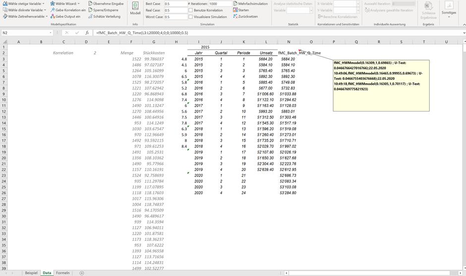 MC FLO Excel Monte Carlo Simulation Prognose Vorhersage Batch Forecast