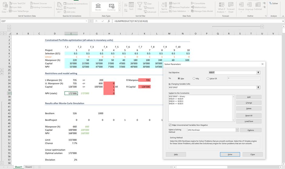 Monte Carlo Excel Simulation Linear optimization MC FLO