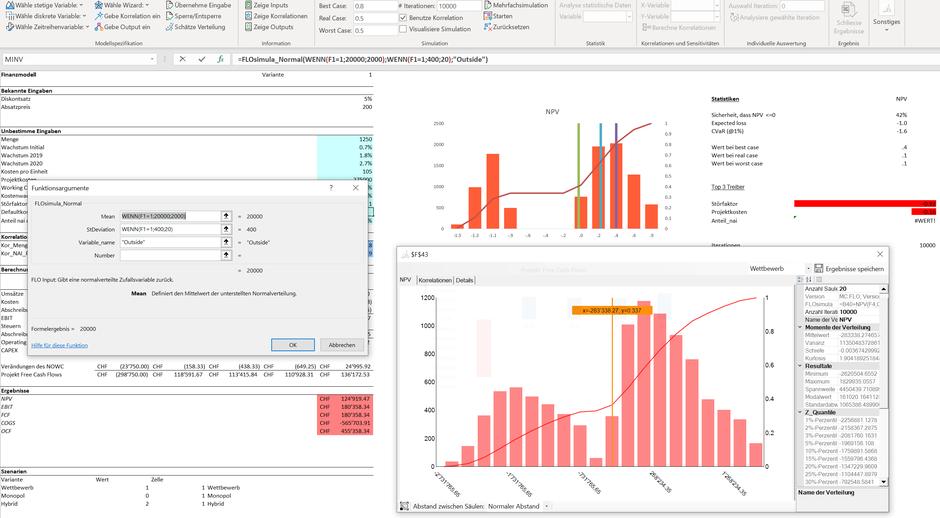 MC FLO Monte Carlo Simulation Excel multiple