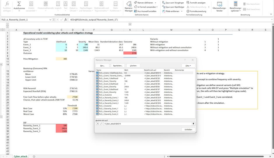 Monte Carlo simulation Excel decision information package MC FLO