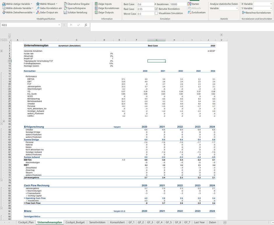 Excel Monte Carlo Simulation GuV Bilanz Dashboard Monte Carlo Simulation Planmodell Unternehmensplan