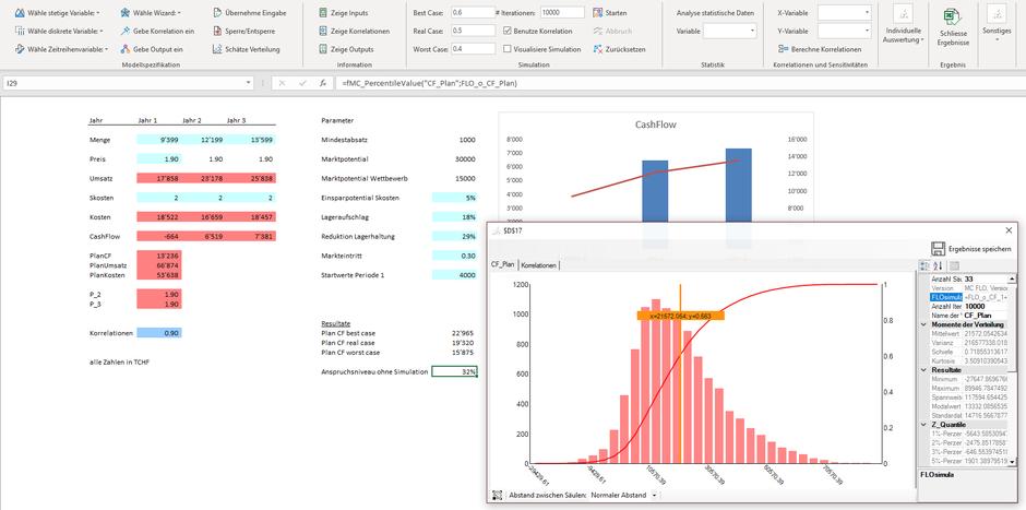 MC FLO Excel Monte Carlo Simulation Ergebnis Planung Excel