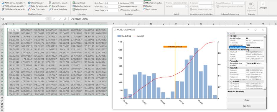 MC FLO Excel Monte Carlo Simulation benutzerdefinierte Verteilung