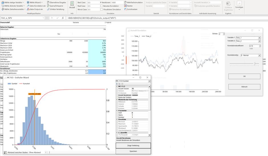 MC FLO - Bildung von Verteilungen und Zeitreihen  MC FLO Simulation Monte Carlo Excel