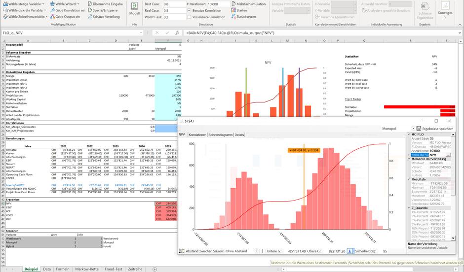 Monte Carlo Simulation Excel Planung NPV