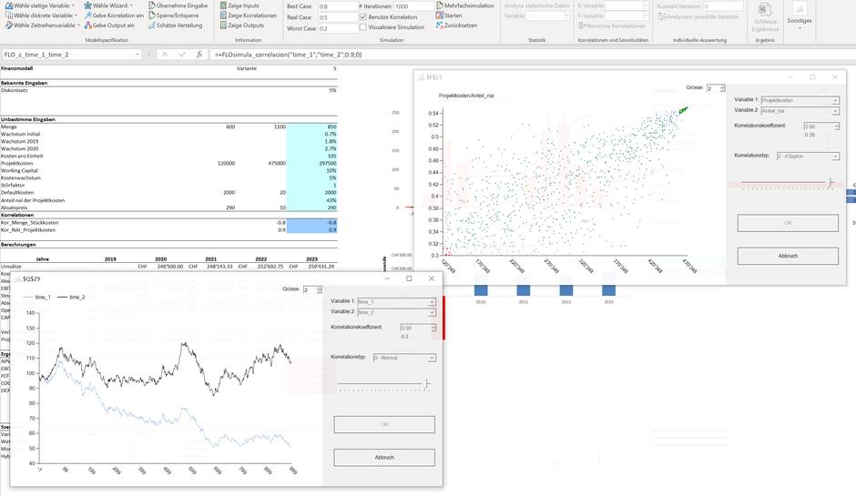 MC FLO Excel Monte Carlo Simulation Copula Clayton Gumbel Korrelation