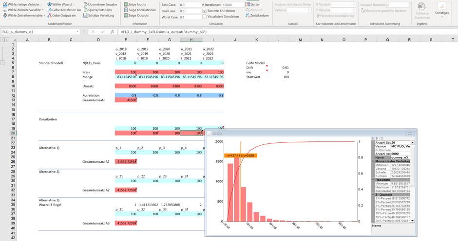 Excel Monte Carlo Simulation Geometrische brownsche Bewegung MC FLO