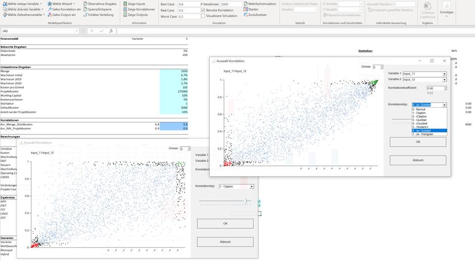 MC FLO Monte Carlo Simulation Excel Korrelation Copula