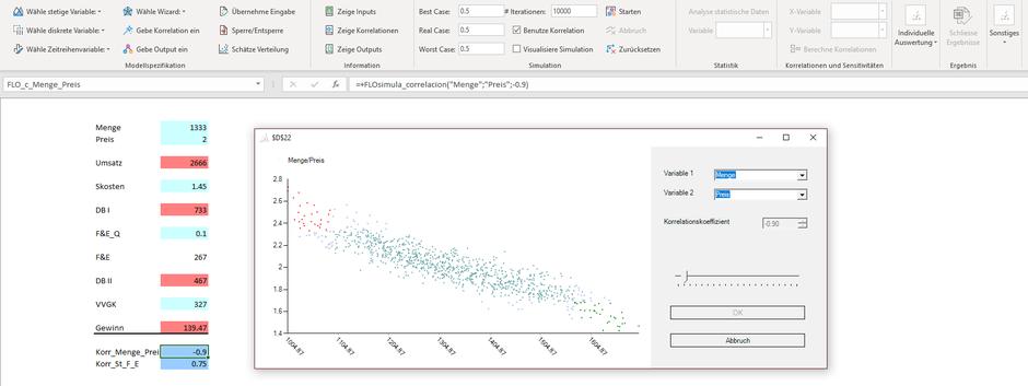Monte Carlo Simulation Unsicherheit Planung Bandbreite Excel Korrelation
