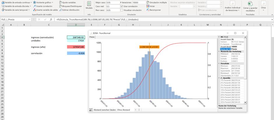 MC FLO Excel Monte Carlo simulación convolución proyecto