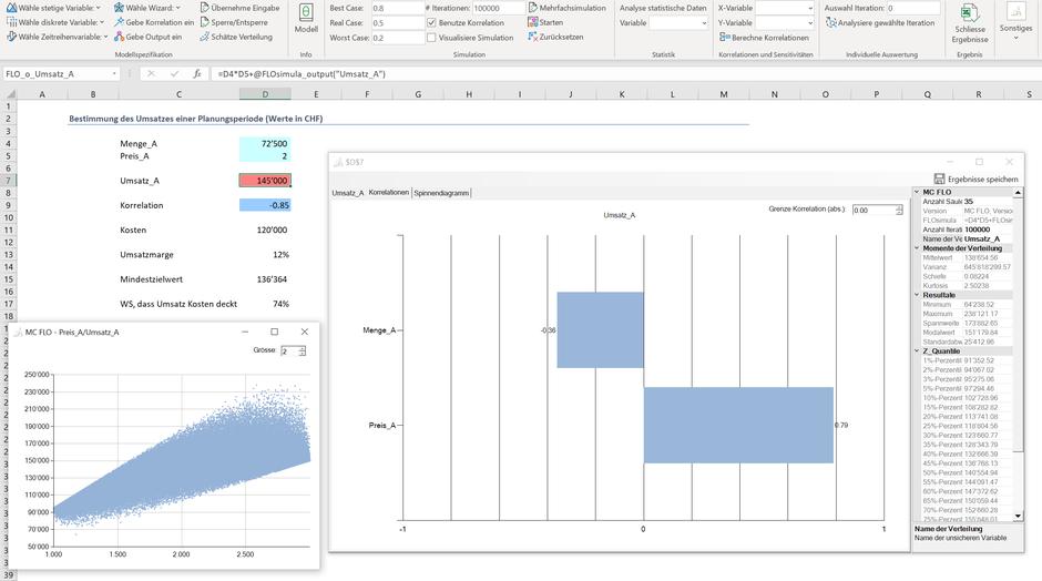 Monte Carlo Simulation Excel Multiplikation Optimierung Stochastik Korrelation