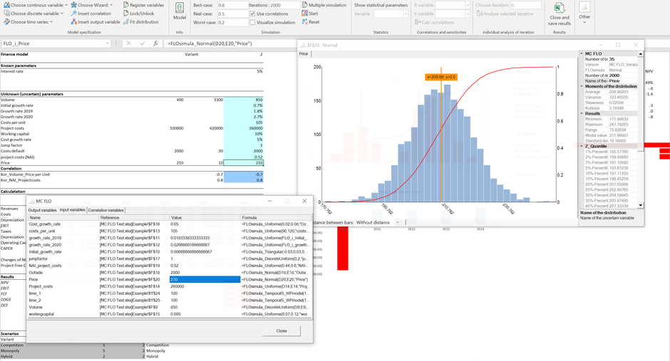 MC FLO - define distributions and time series MC FLO Monte Carlo Simulation Excel