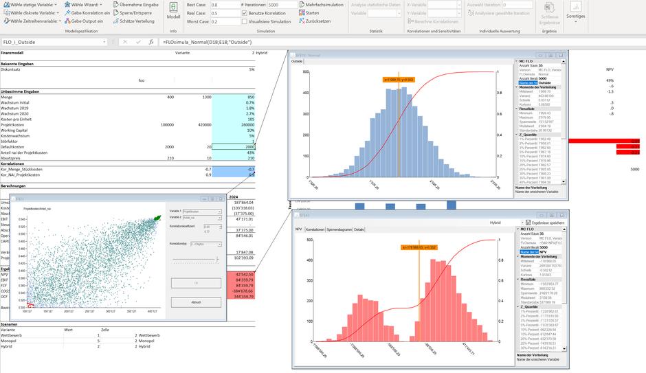 MC FLO Resultate als Kommentare MC FLO Monte Carlo Simulation Excel