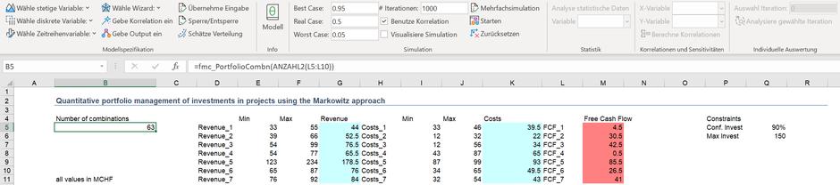 MC FLO Monte Carlo Simulation Excel Portfolio Optimierung