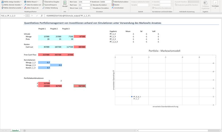 Markowitz Excel Monte Carlo Simulation Portfolio Management