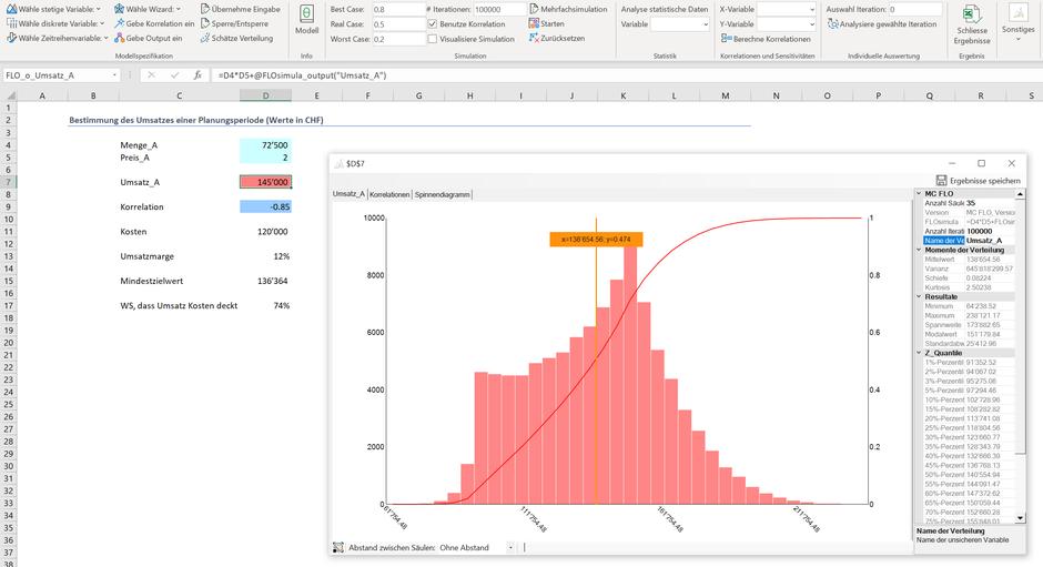 Monte Carlo Simulation Excel Multiplikation Optimierung Stochastik