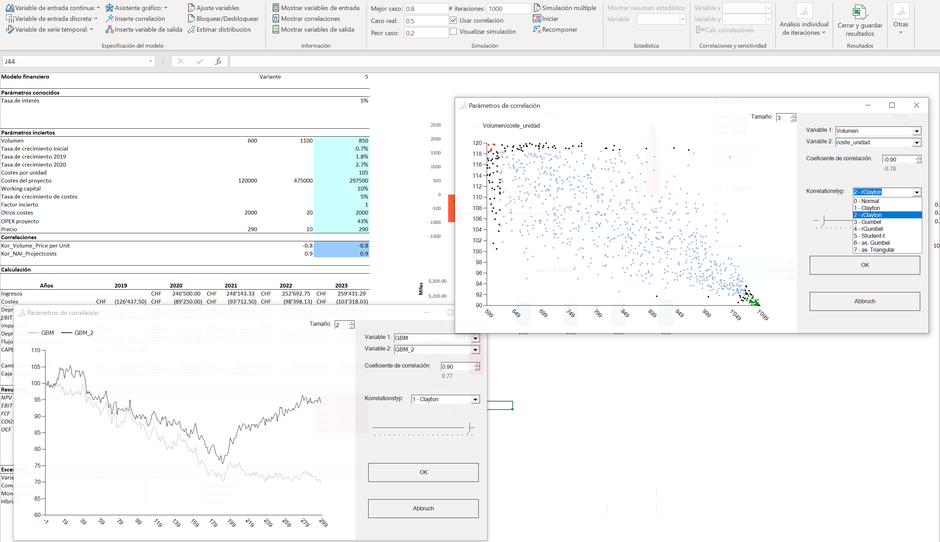 MC FLO Excel Monte Carlo Simulación correlación clayton gumbel