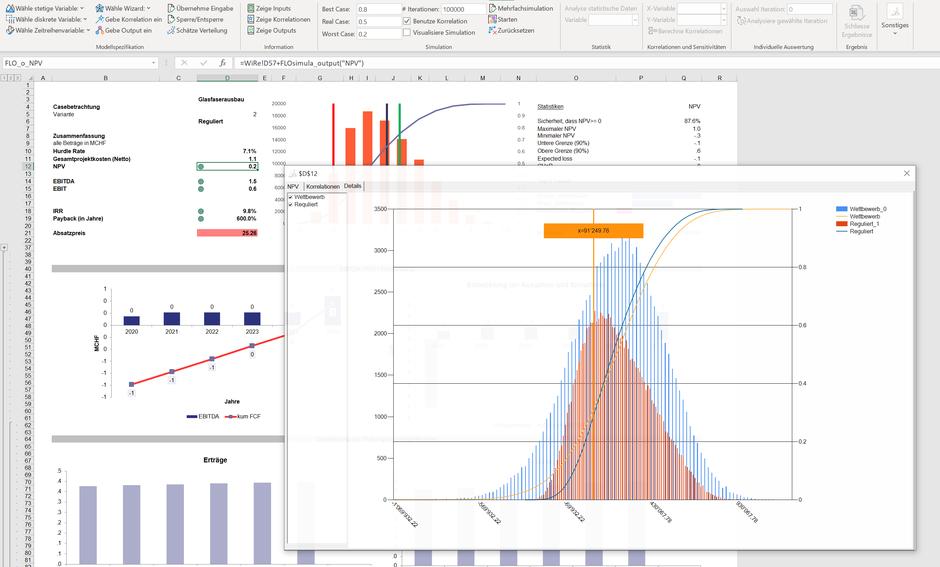 MC FLO Monte Carlo Simulation Excel Variante Business Case Tool