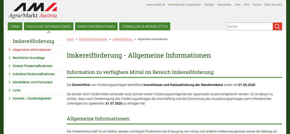 (screenshot) www.ama.at/Fachliche-Informationen/Imkereifoerderung/Allgemeine-Informationen